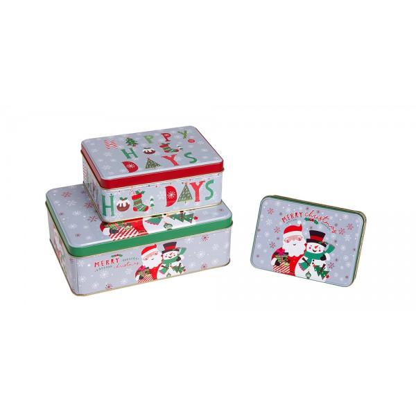 Χριστουγεννιατικα διακοσμητικα - Σετ 3 μεταλλικά κουτιά  KL-821-14 ΝΕΕΣ ΠΑΡΑΛΑΒΕΣ ΧΡΙΣΤΟΥΓΕΝΝΑ 2021