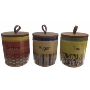 Σετ 3 δοχεία για καφέ, ζάχαρη, τσάι UK-641 (40% έκπτωση) ΠΡΟΣΦΟΡΕΣ